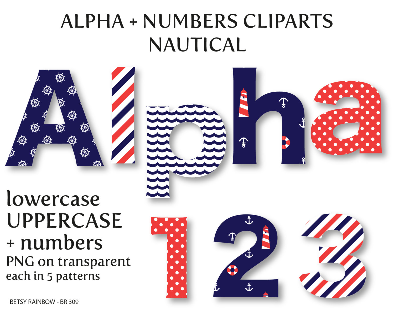 Number clipart nautical Alphabet clipart  and and