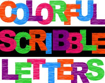 Lettering clipart scrapbook Letters Digital Scribble Scrapbooking Etsy