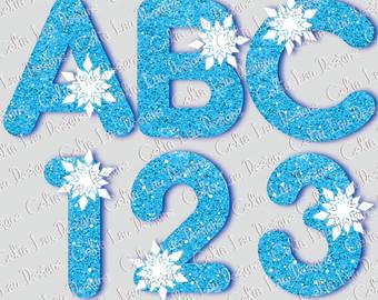 Letter clipart snowflake Frozen Glitter clipart Alphabet INSTANT