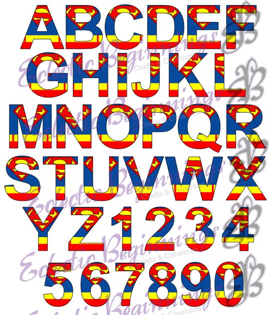Superman clipart letter Numbers Art Digital Print and