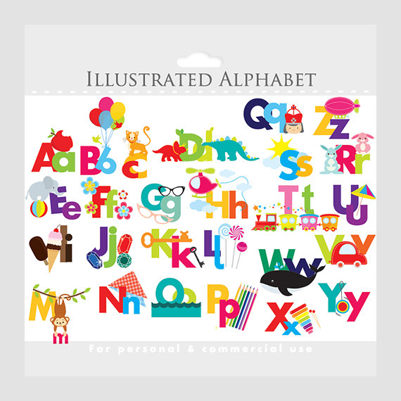 Lettering clipart alphabetical order Letters for illustrated commercial teaching