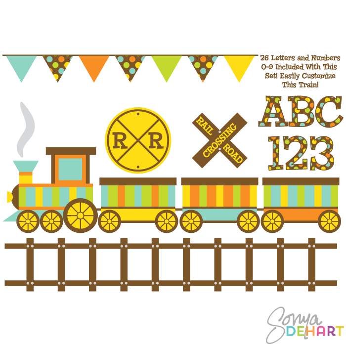 Letter clipart train Vector train art  digital