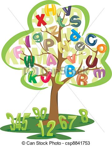 Number clipart tree  letters letters with numbers