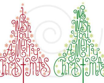 Cards clipart christmas letter Drawn trees with letter Christmas
