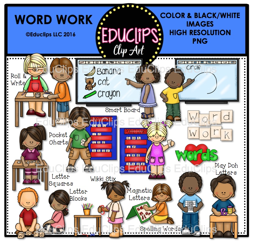 Word clipart word work Bundle Work (Color Educlips and