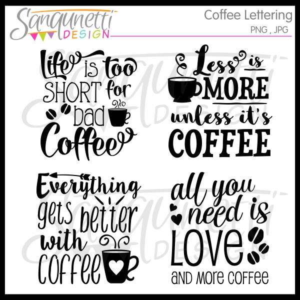 Lettering clipart Lettering Sanqunetti Coffee Clipart Clipart