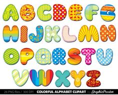 Lettering clipart alphabetical order Letters Digital color letters Digital