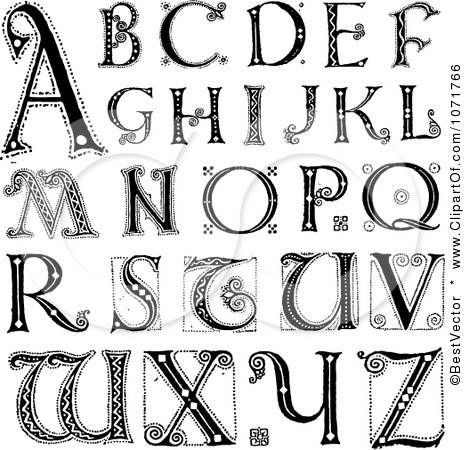 Lettering clipart black and white  Clip Vintage Styled Letters