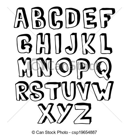 Lettering clipart black and white Black hand  and csp19654887