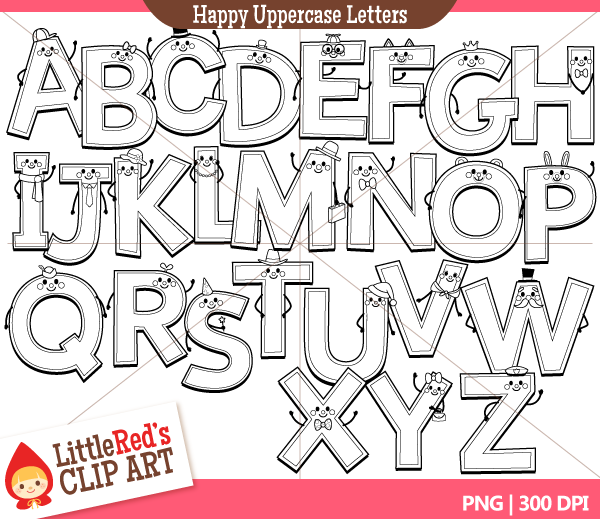 Lettering clipart victorian Uppercase collections letters black white