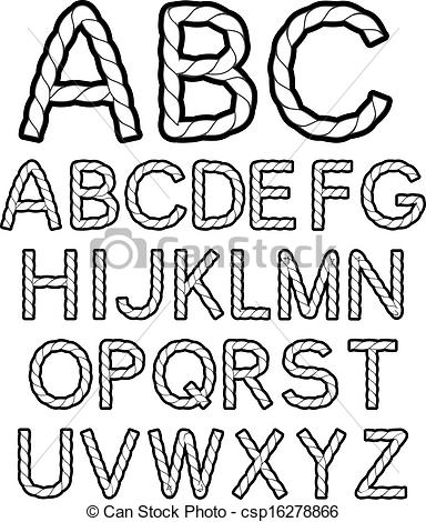 Lettering clipart black and white Vector alphabet  rope font