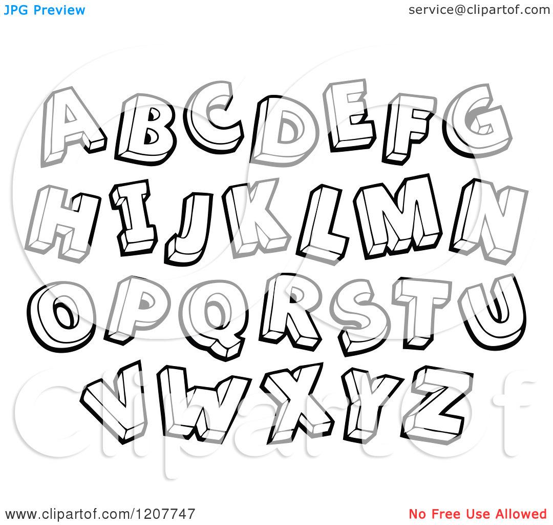 Lettering clipart black and white  White Alphabet Black And