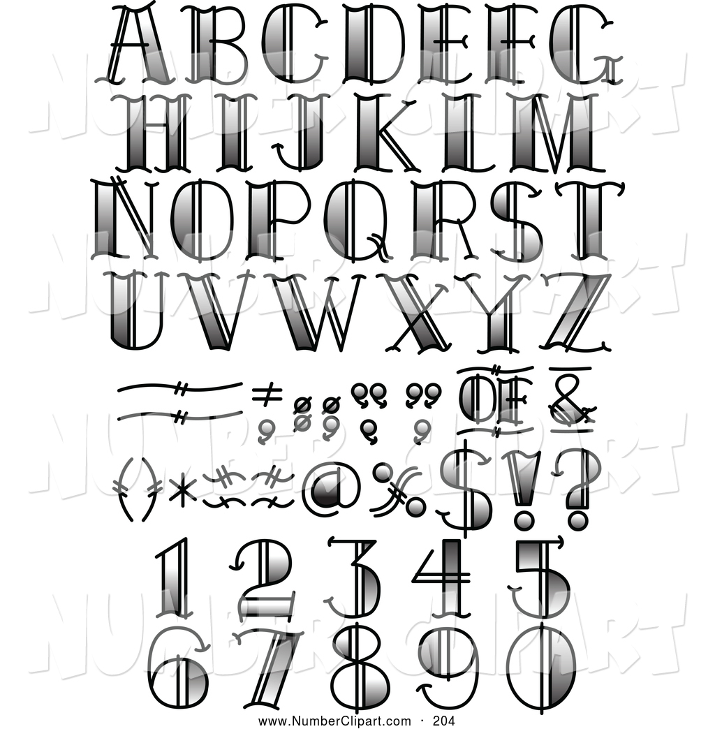 Lettering clipart black and white Royalty Alphabet Free Stock Number