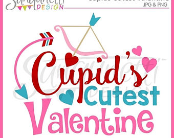 Lettering clipart bug Instant Valentine Cupid art Valentine