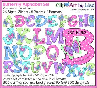 Lettering clipart bug X Clipart Digital butterflies 00