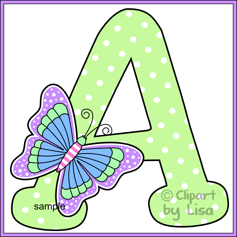 Letter clipart graphic Alphabet  butterfly