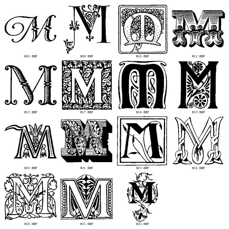 Lettering clipart decorative letter m Of letters Initial+M+Fonts on letter