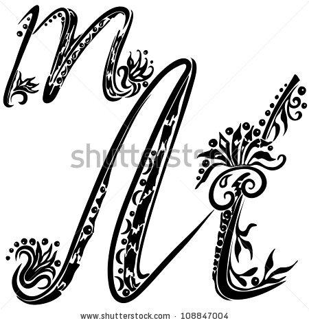 Lettering clipart decorative letter m  of of m Letter