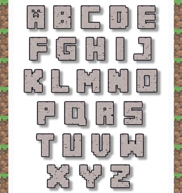 Lettering clipart easy To minecraft letters letters Free