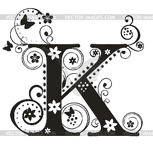 Lettering clipart fancy For K letter with vector