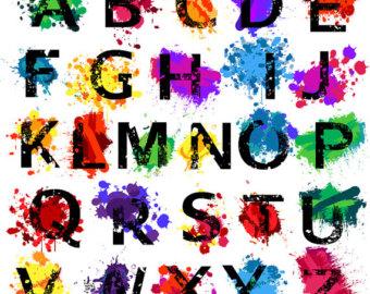 Lettering clipart font Alphabet Splatters Boy Clip Clip