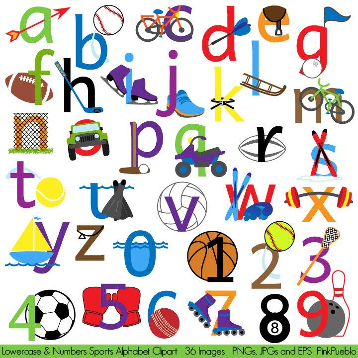 Lettering clipart font Sports Alphabet Art Sports Font