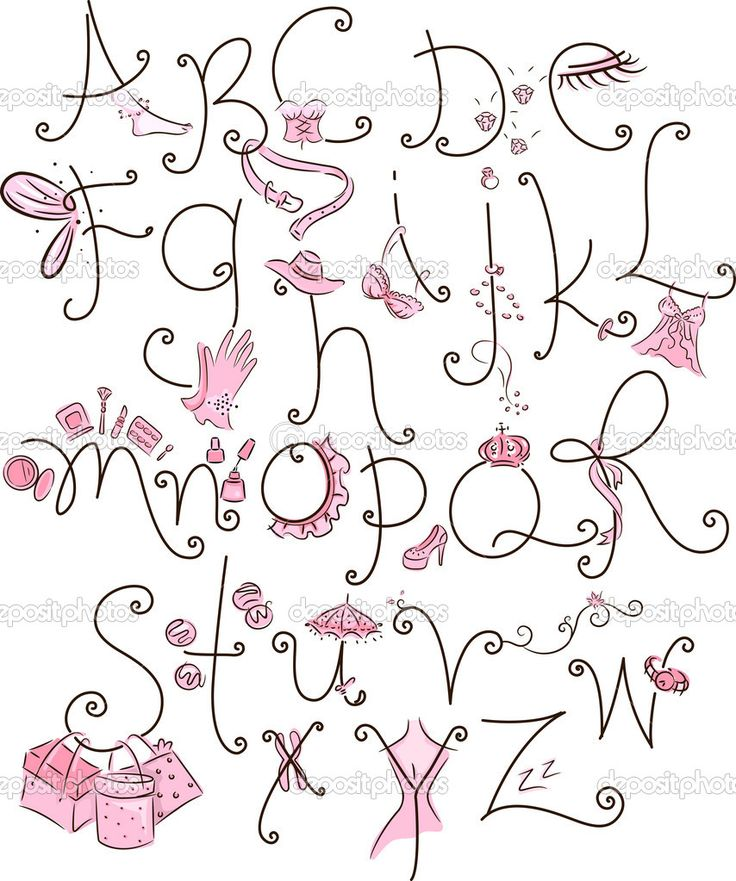Lettering clipart girly Letter  for fonts informatin