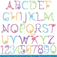 Lettering clipart girly Girly Doodle Uppercase Font Drawn