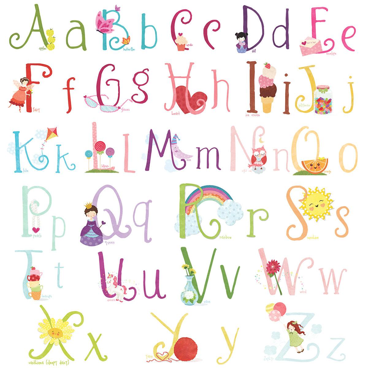 Lettering clipart girly  Cute letters christmas alphabet