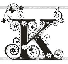 Lettering clipart letter k K vector is initial Decorative