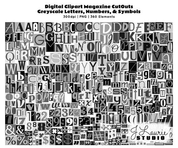 Lettering clipart magazine cutout And Digital Letters Ransom Cutout