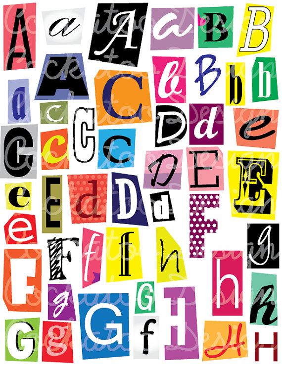 Lettering clipart magazine cutout Cutouts 50% letters party aphabet