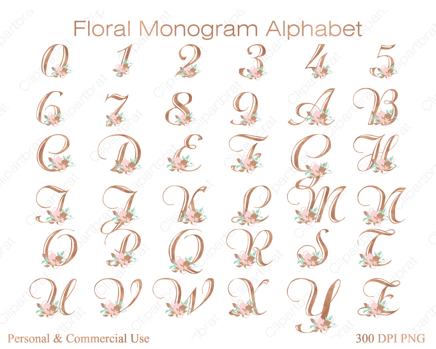 Lettering clipart monogram GOLD a Use ALPHABET Commercial