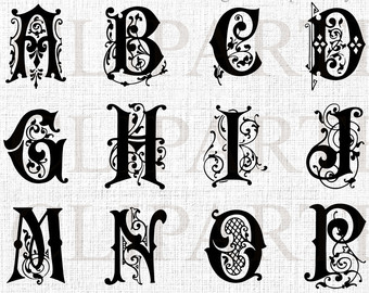 Lettering clipart monogram Ornate Clipart Commercial Alphabet Alphabet