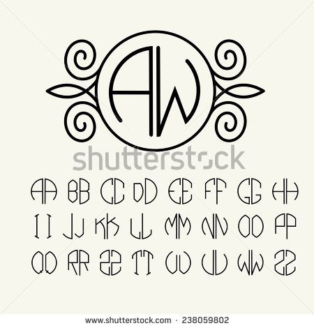 Lettering clipart monogram Of letters Pinterest scribed two