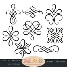 Lettering clipart ornament & Decorative Borders Instant Art
