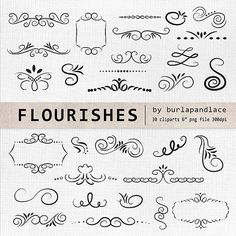 Lettering clipart ornament Hand elements Digital digital Drawn