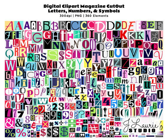 Lettering clipart ransom Magazine Cutout Greeting Note Scrapbook