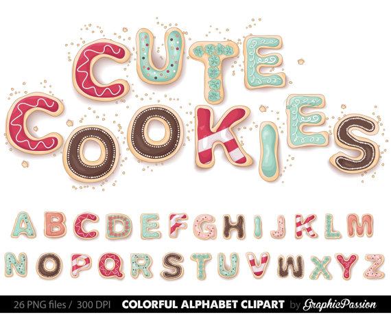 Lettering clipart scrapbook ABC  Clip Letters Cookies