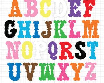 Lettering clipart scrapbook ABC Alphabet art Instant Digital