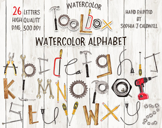 Lettering clipart scrapbook Tool Name Watercolor Clipart Alphabet