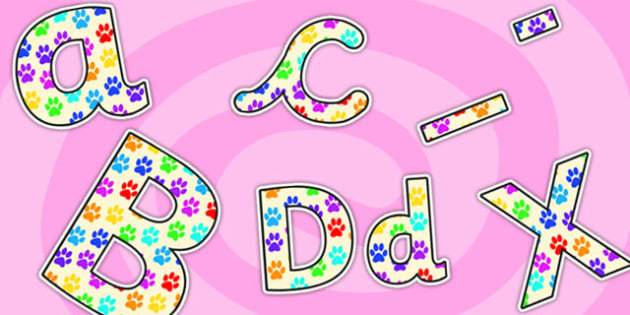 Lettering clipart small Print Paw Lettering Print Print
