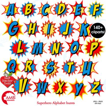 Lettering clipart small The Superhero Bursts Clipart on