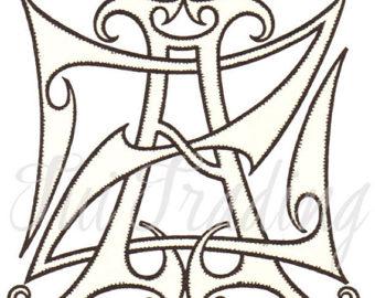 Lettering clipart victorian Initials AZ Printable MCC Digital