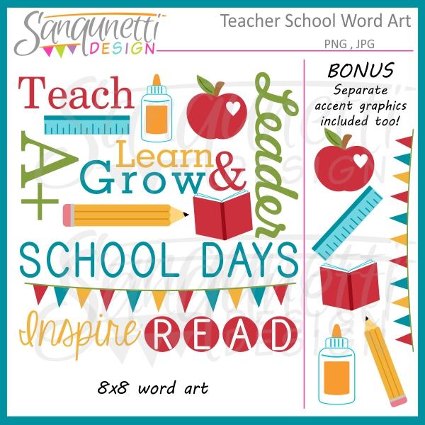 Word clipart teacher Art quality School Clipart Sanqunetti