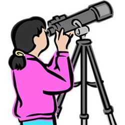 Bio clipart female scientist Telescope Scientists: looking through Young