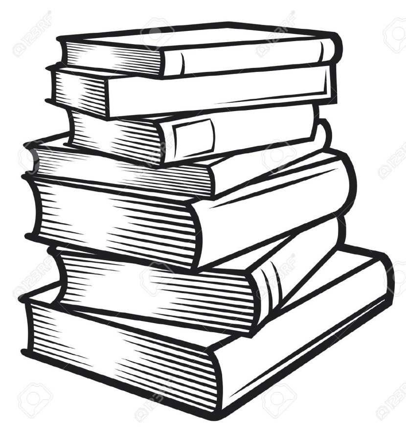 Library clipart book stack Free Image White Black and