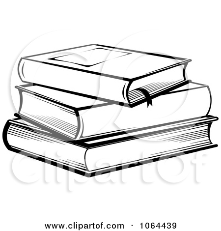 Library clipart book stack Black White Stack And In