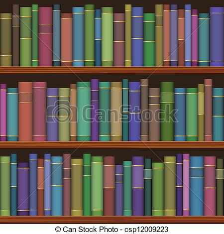 Drawn bookcase book clipart Seamless shelves library with books