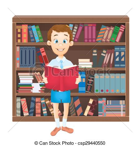 Library clipart boy Book school library of boy